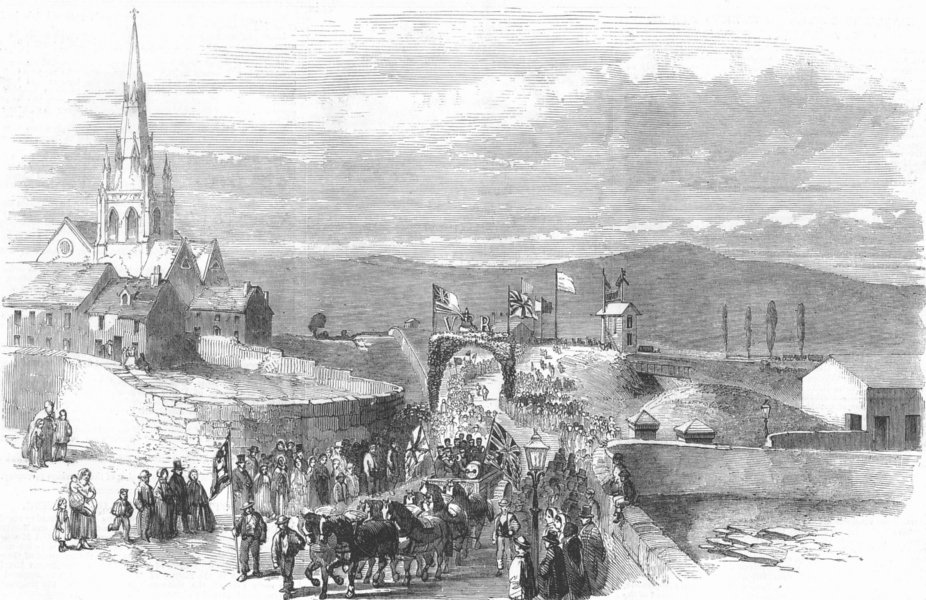 Associate Product YORKSHIRE. The Procession entering the Regent-Street Station, old print, 1857