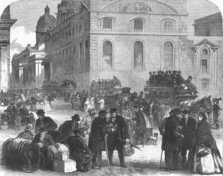 Associate Product LONDON. Old pensioners leaving Greenwich hospital, antique print, 1865