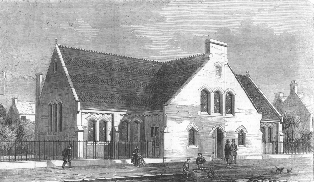 LONDON. New School-Church of St. Peter's Stepney, antique print, 1857