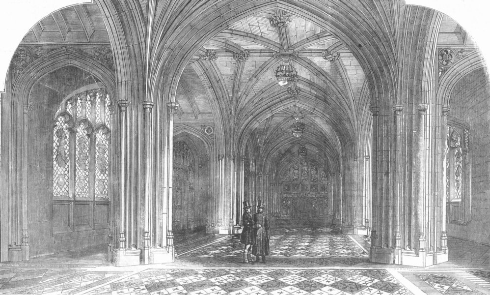 Associate Product HOUSE OF LORDS. The peers' private entrance, antique print, 1857