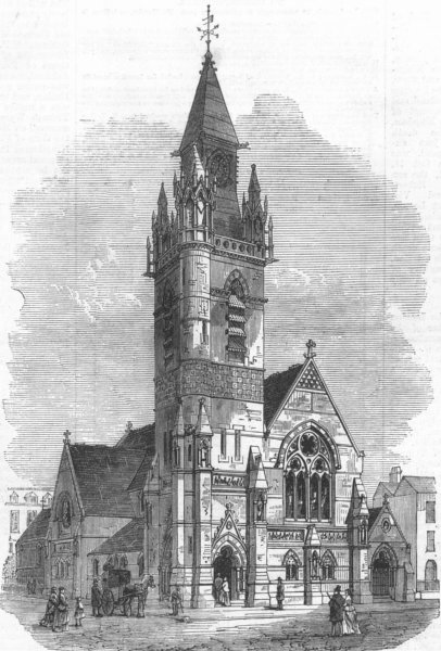 Associate Product LONDON. The Smithfield Martyrs' Memorial Church, antique print, 1871