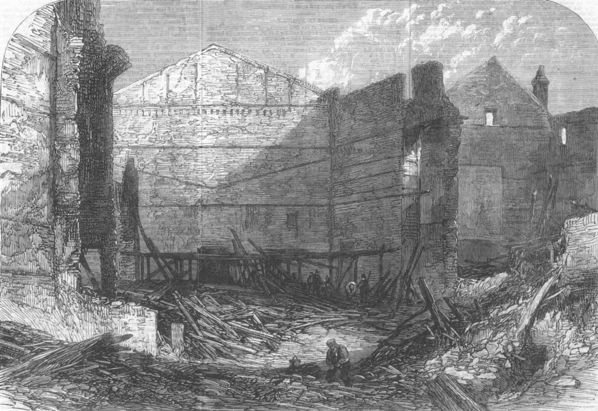 Associate Product LONDON. Ruins of the Standard Theatre, Shoreditch, destroyed by fire, 1866