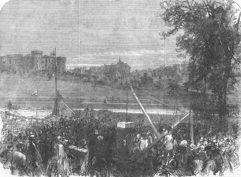 Associate Product INVERNESS. archbp. Canterbury laying keystone new cath. , antique print, 1866