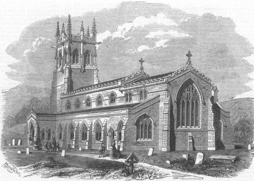 Associate Product WENSLEYDALE. Aysgarth Church. Yorkshire, antique print, 1866