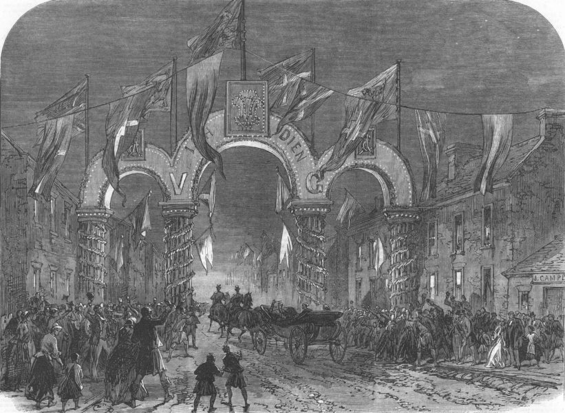 Associate Product DUNROBIN CASTLE. Illuminations at Golspie in Honour of the Prince of Wales, 1866