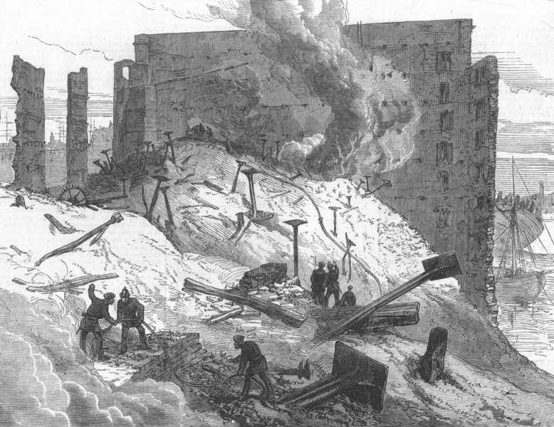 Associate Product LONDON. The great fire at Rotherhithe, antique print, 1871