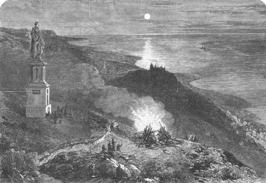 Associate Product DUNROBIN CASTLE. Bonfire on the summit of Ben Braggie, antique print, 1866