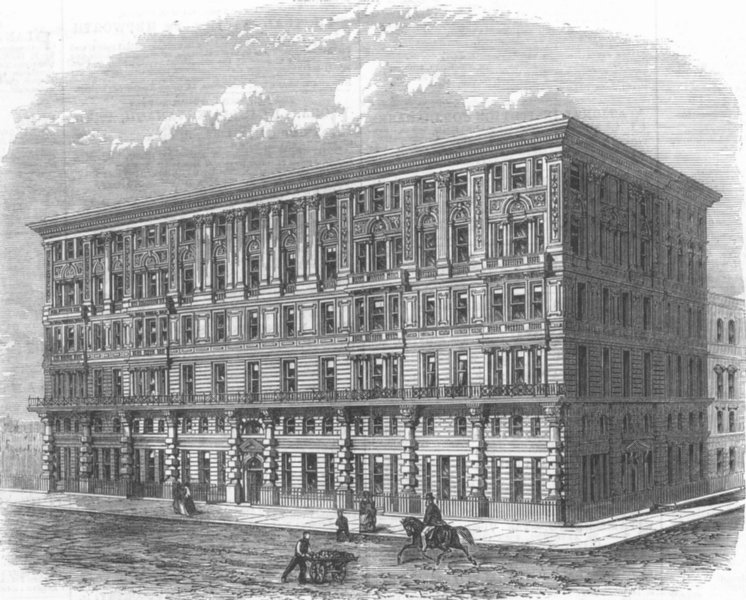 Associate Product WESTMINSTER. The Grosvenor Mansions, Victoria Street. London, old print, 1868