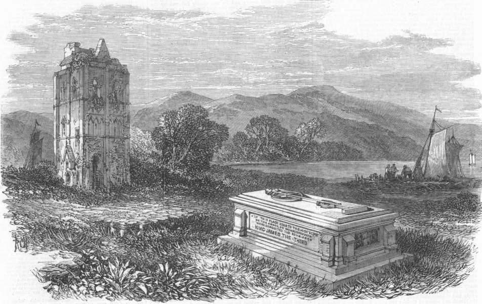 Associate Product SCOTLAND. Cambuskenneth Abbey, near Stirling, and tomb of James III, print, 1866