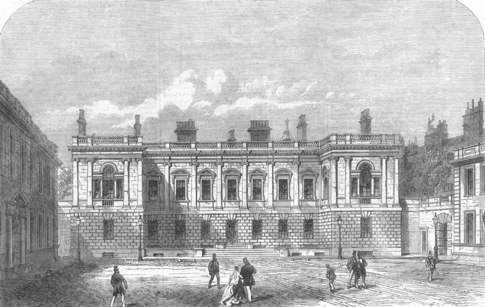 Associate Product PICCADILLY. Burlington House. London, antique print, 1866