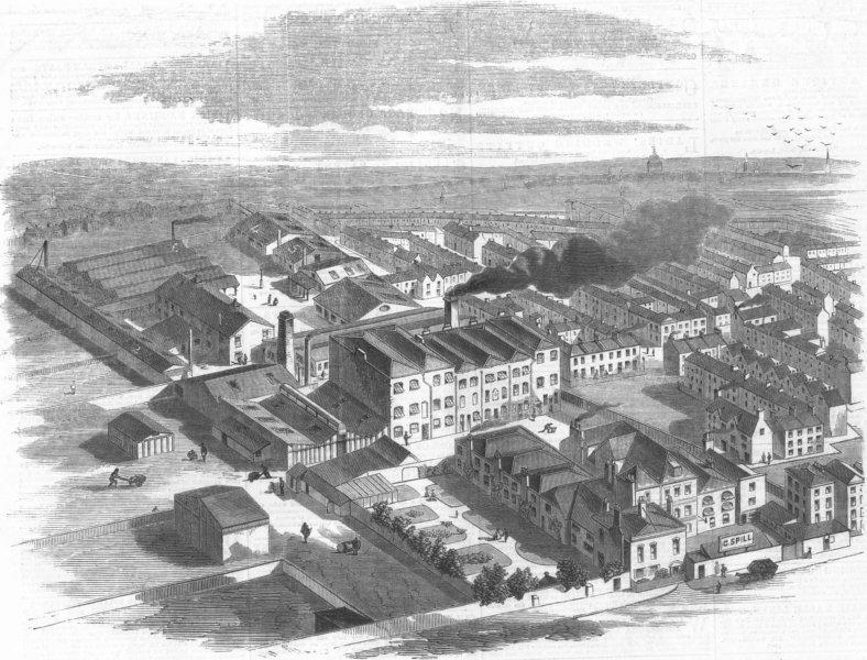 Associate Product STEPNEY. Spill's Waterproofing Manufactory. London, antique print, 1859