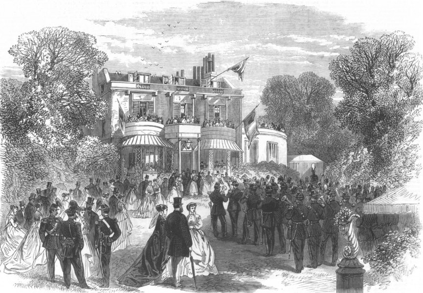 Associate Product HIGHGATE. Reception of Belgian Volunteers by Burdett Coutts at Holly Lodge, 1867