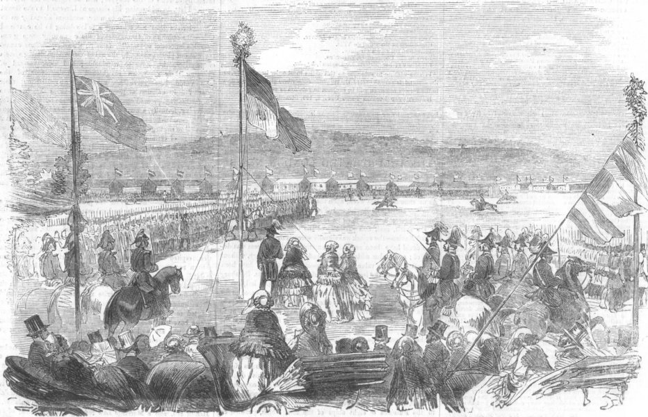 Associate Product SHORNCLIFFE. Review of the Foreign Legion by Her Majesty. London, print, 1855