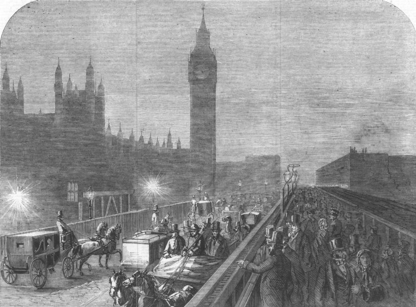 Associate Product LONDON. Westminster-Bridge lighted by the new lime light, antique print, 1860