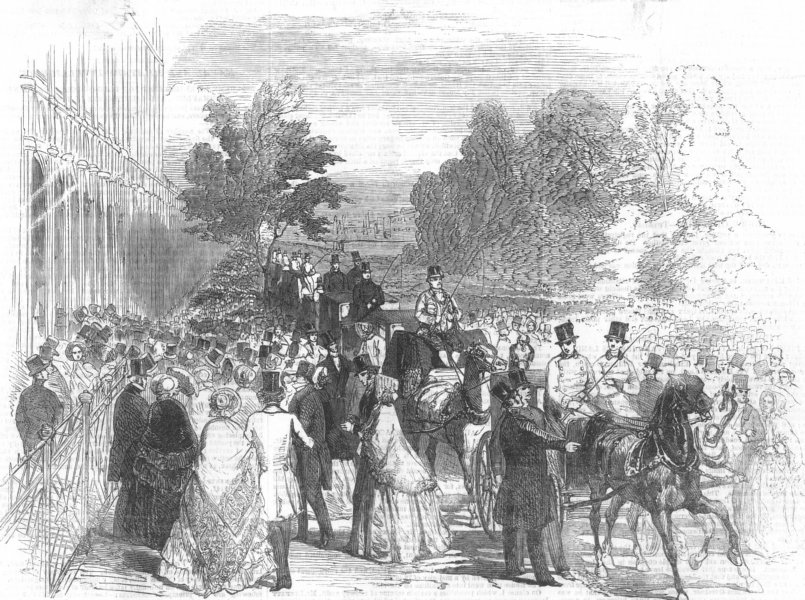 Associate Product LONDON. Opening of the Great Exhibition-South Entrance, antique print, 1851