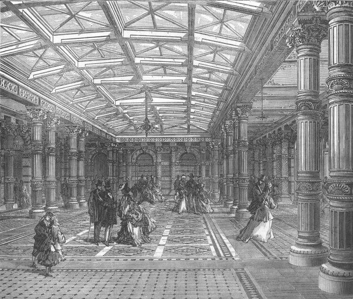 Associate Product Entrance hall to the Brighton Aquarium, Sussex, antique print, 1872