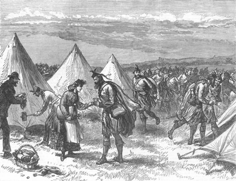 Associate Product LONDON. Arrival of volunteers in the Southern camp. The London Scottish, 1872