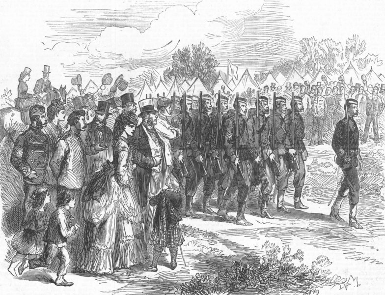 Associate Product AUTUMN CAMPAIGN. Oxford University Volunteers in the Southern camp, print, 1872
