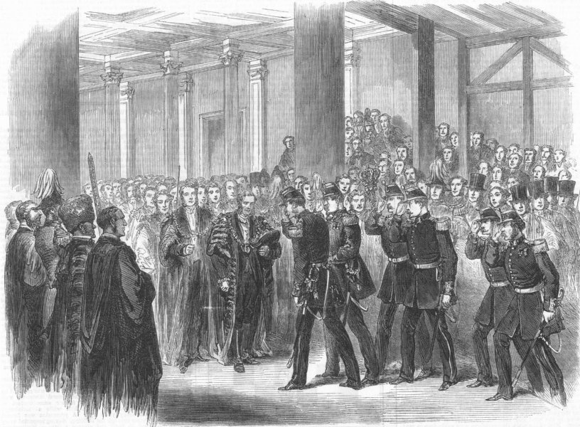 Associate Product LONDON. Reception of the Belgians by the Lord Mayor at Guildhall, print, 1867