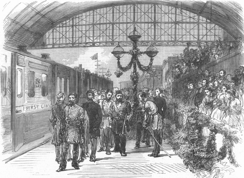 Associate Product LONDON. Arrival of the Sultan at Charing-Cross station, antique print, 1867