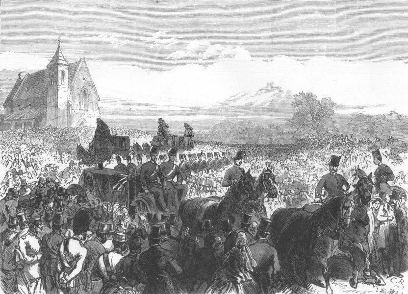 Associate Product LONDON. Funeral of Sergeant Dransfield, Tower Hamlets Engineer Volunteers, 1865