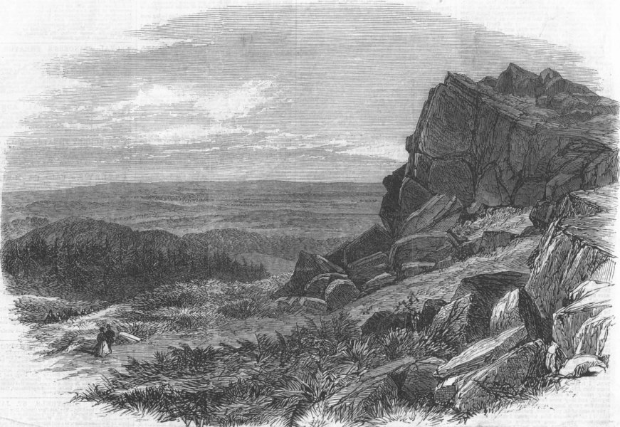 Associate Product LEICESTERSHIRE. Beacon Hill, Charnwood Forest, antique print, 1866