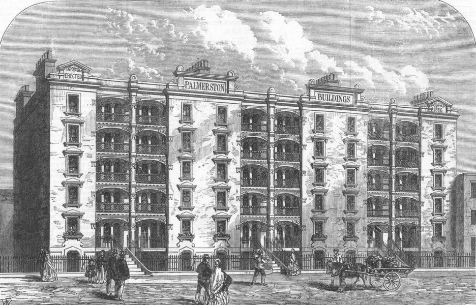 Associate Product LONDON. Darwin Buildings, City Garden-Row, City-Road, antique print, 1866