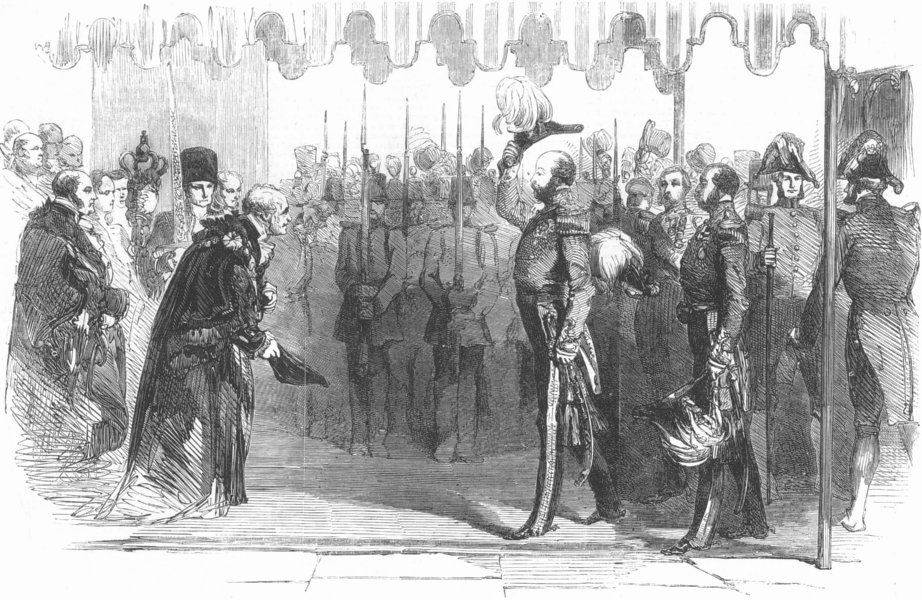 Associate Product LONDON. HRH the Duke Cambridge at Mansion House Lord Mayor, antique print, 1855