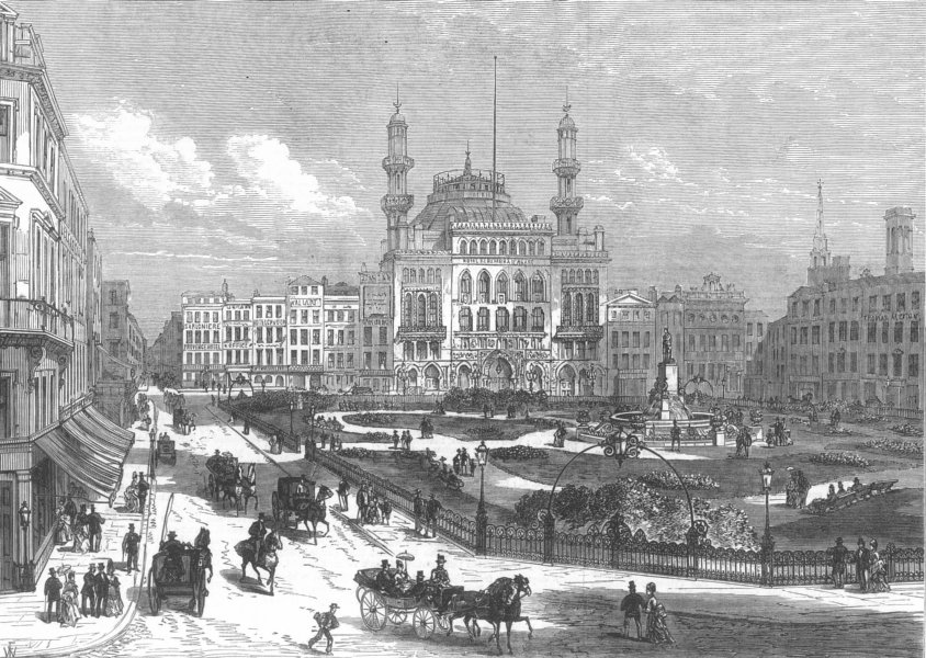 Associate Product LONDON. New garden in Leicester Square, antique print, 1874