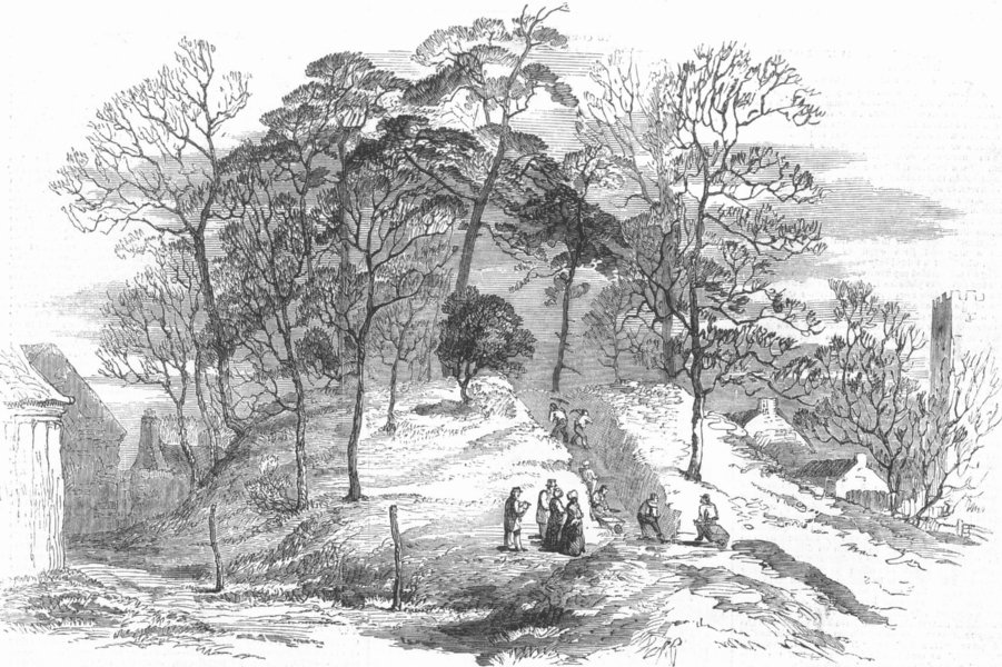 Associate Product ST. WEONARDS. Opening of a Tumulus. Herefordshire, antique print, 1855
