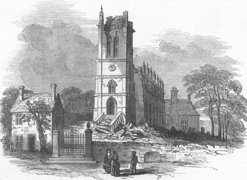 Associate Product LEICESTERSHIRE. King's Norton Church, struck by lightning, antique print, 1850