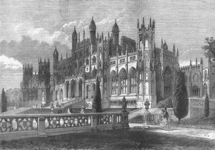 Associate Product CHESHIRE. Eaton Hall, Chester, the seat of the Duke Of Westminster, print, 1874