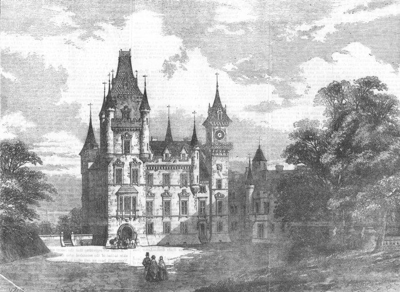 Associate Product SCOTLAND. Dunrobin Castle, antique print, 1855