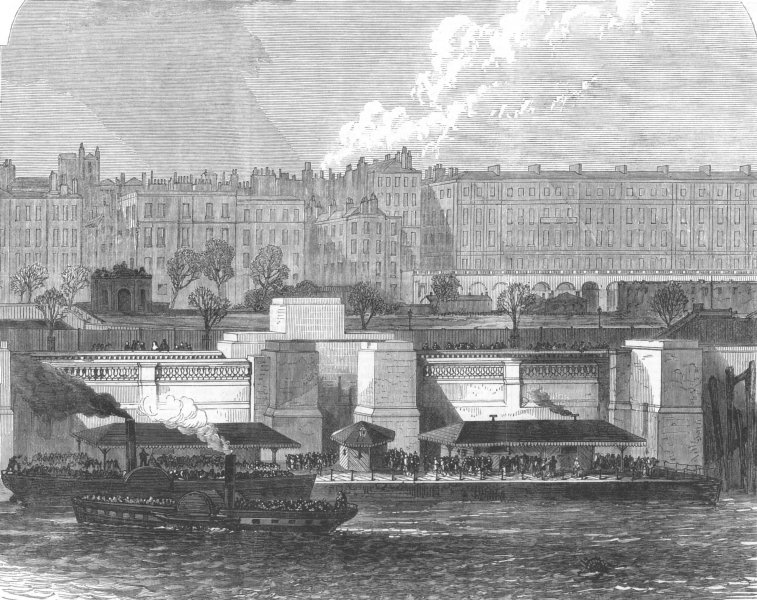 Associate Product LONDON. Hungerford Pier on the Thames Embankment, antique print, 1869
