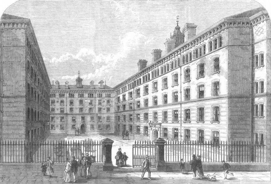 Associate Product LONDON. Peabody-Square, Westminster, for the dwellings of the poor, print, 1869