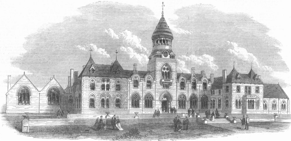LEEDS. Wesleyan Methodist College, Headingley, antique print, 1869