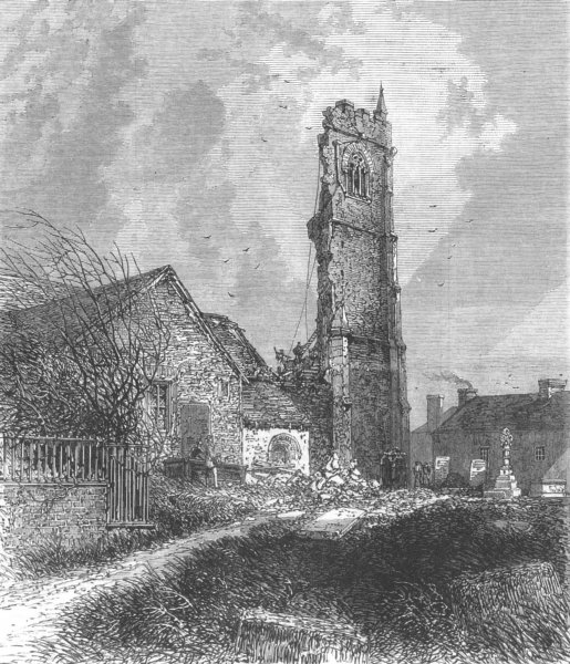 Associate Product CORNWALL. Ruins of the Tower of St. Issey Church, antique print, 1869