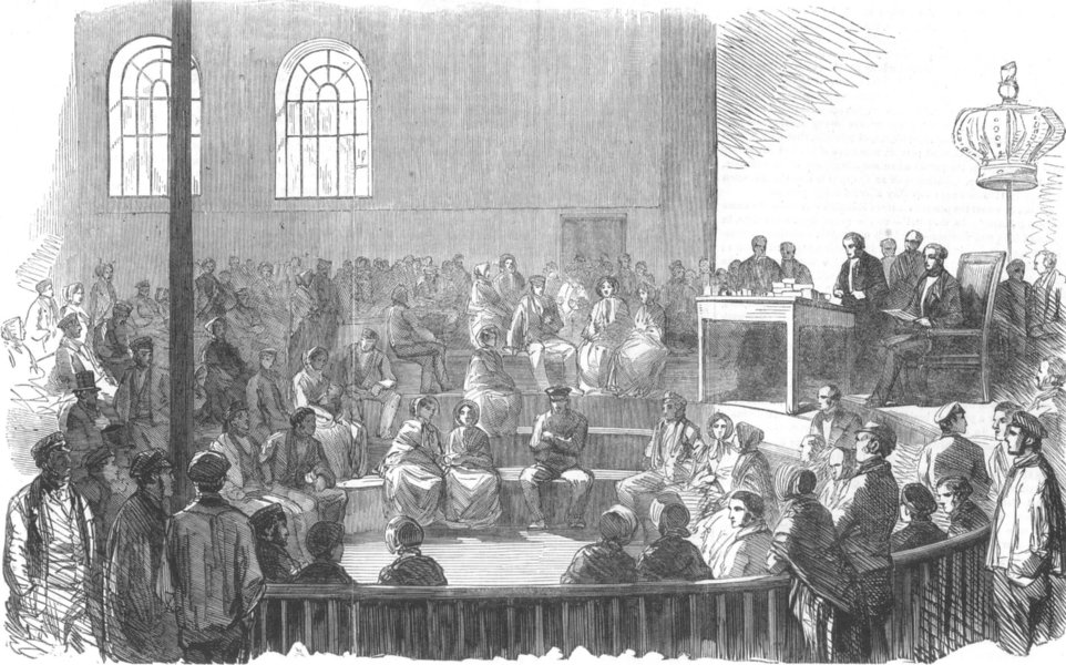 Associate Product LANCASHIRE. Payment of operatives, in the Temperance Hall, Preston, print, 1853
