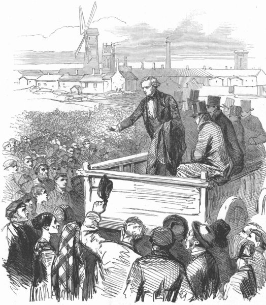 Associate Product PRESTON STRIKE. Mr. Cowell addressing the factory operatives. Lancashire, 1853