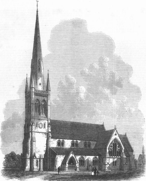 Associate Product SHEFFIELD. All Saints' church. Yorkshire, antique print, 1869