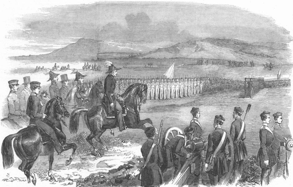 Associate Product DEVON. Military exercise on Roborough Down, antique print, 1853