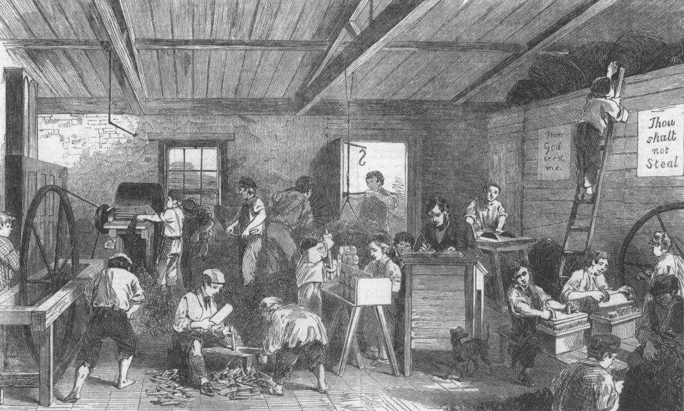 Associate Product LONDON. Brook Street ragged school-the Work-room, antique print, 1853