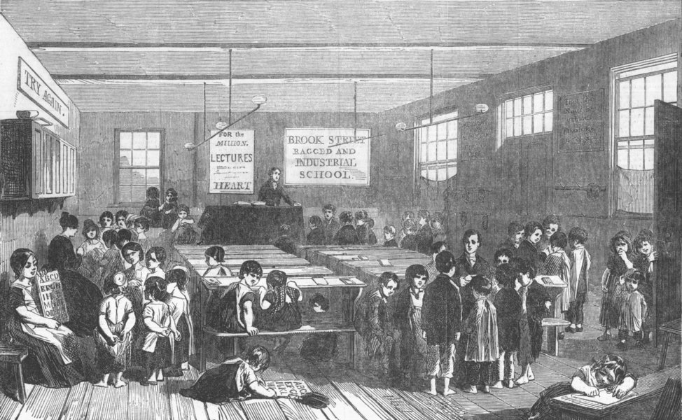 Associate Product LONDON. Brook Street Ragged and Industrial School, antique print, 1853
