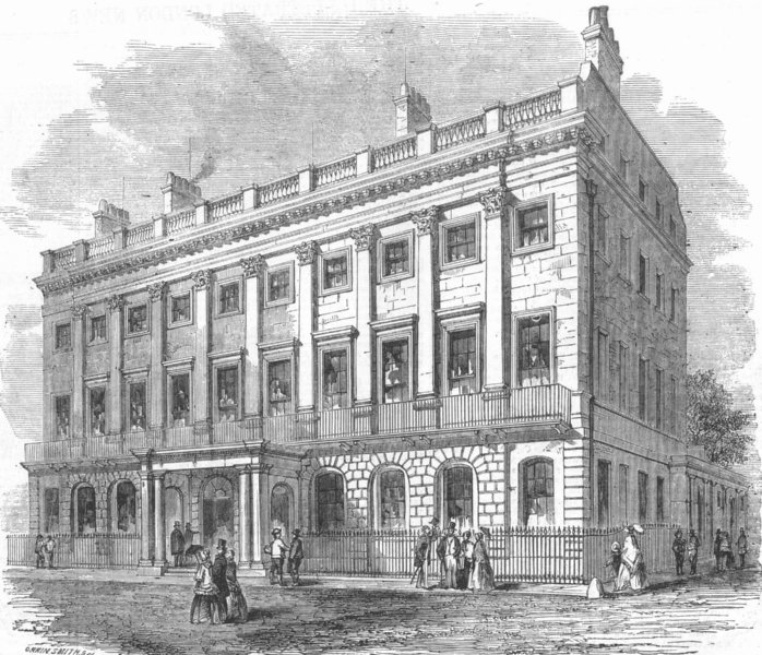 Associate Product LONDON. West-End branch Bank of England (Uxbridge House) , antique print, c1855