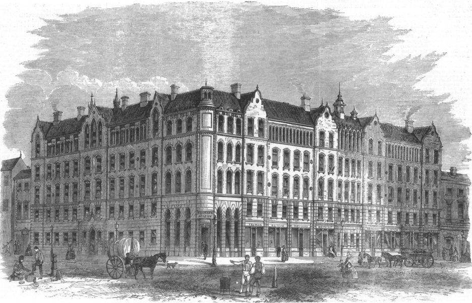Associate Product SPITALFIELDS. Peabody social housing, Commercial-Street. London, old print, 1863
