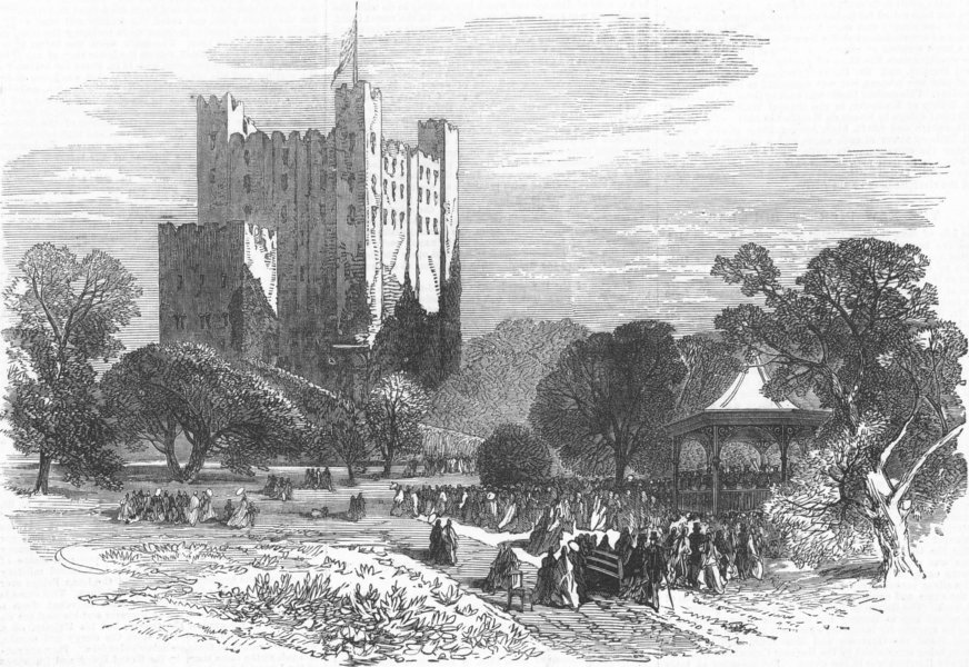 Associate Product KENT. Rochester Castle and the new public gardens, antique print, 1872