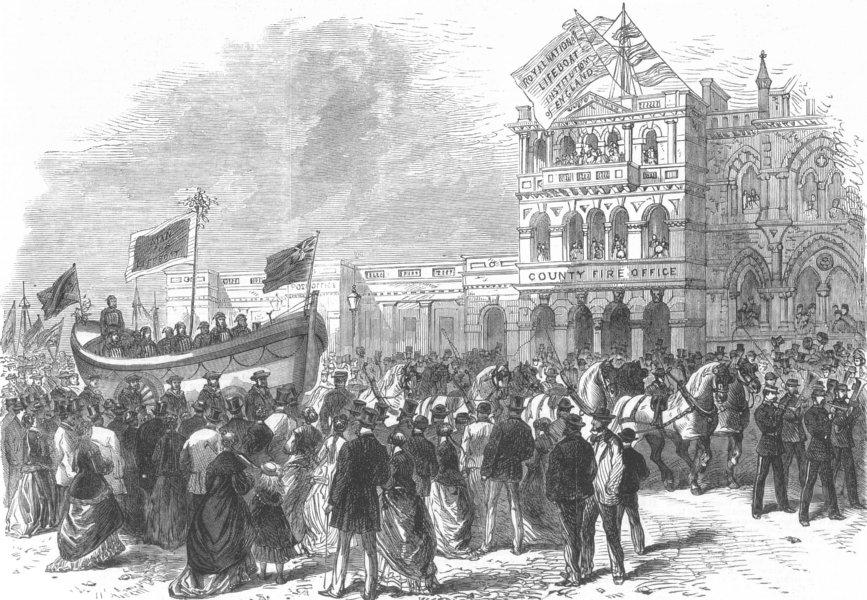 Associate Product EXETER. Life-boat festival procession. Devon, antique print, 1869