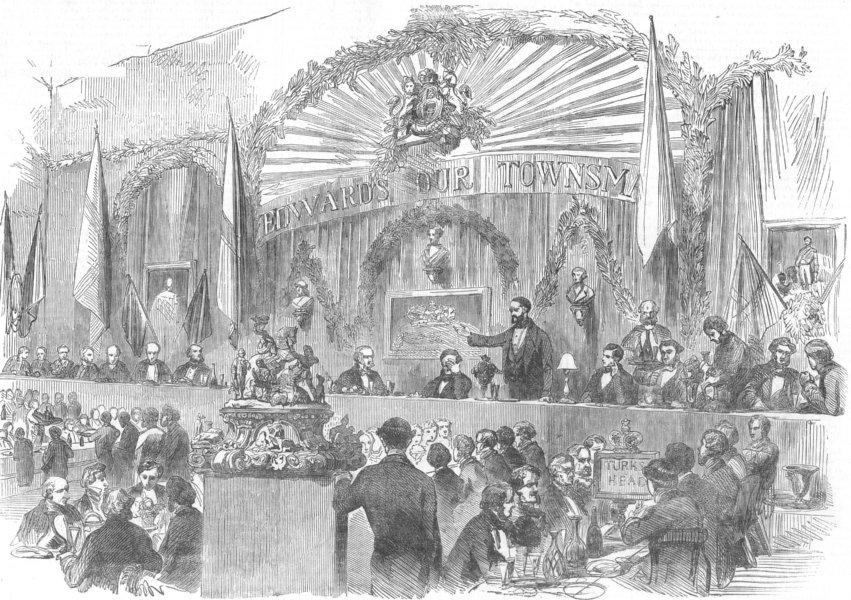 Associate Product HALIFAX. pub. dinner Henry Edwards Esq, Riding-School. Yorks, old print, 1853