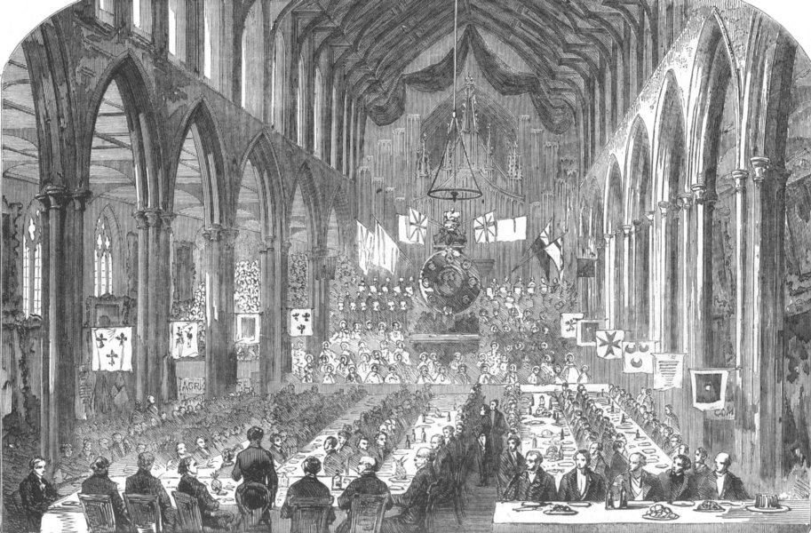 Associate Product NORWICH. Banquet to Mr. Peto and Mr. Warner, in St. Andrew's Hall. Norfolk, 1853