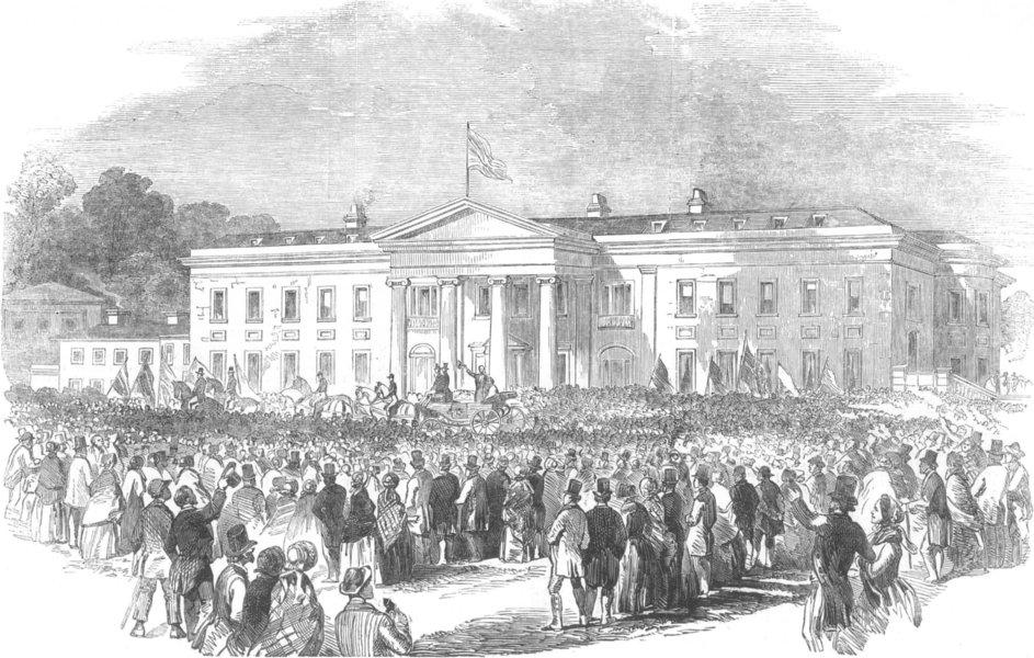 Associate Product WALES. Fete at Kinmel Park-presentation to W. H. Hughes Esq, antique print, 1853